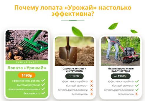 ОТЗЫВЫ СПЕЦИАЛИСТОВ Лопата Урожай3